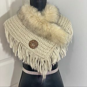 Accessories - Knitted Fur Trimmed Scarf Cream One Size